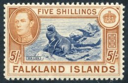 FALKLAND ISLANDS 1938-50 5s Indigo & Pale Yellow-brown UM (lightly Toned Gum), SG.161a, Murray Payne Cert. Accompanies.  - Non Classés