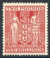 NEW ZEALAND 1951 Arms £2.10s Red Wmk Inverted UM (gum Toned), SG.F207. (1) Cat. £475 - Non Classés