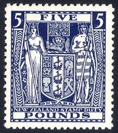 NEW ZEALAND 1950 Arms £5 Indigo Blue, Wmk Inverted UM (toned Gun), SG.F211w. (1) Cat. £400 - Non Classés