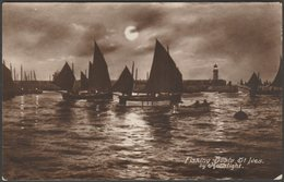 Fishing Boats By Moonlight, St Ives, Cornwall, 1917 - Postcard - St.Ives