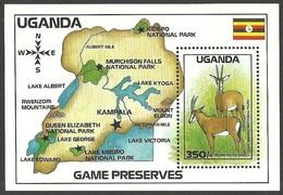 UGANDA 1988 NATIONAL PARKS ROAN ANTELOPE M/SHEET MNH - Uganda (1962-...)