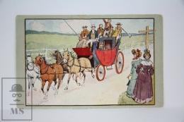 "Antique Illustrated Postcard ""A Passing Flirtation"" -  F.C. Hardy - Edited Faulkner & Co. - Horse Carriage - Ilustradores & Fotógrafos"