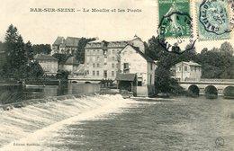 Bar Sur Seine Le Moulin Et Les Ponts Circulee En 1907 - Bar-sur-Seine