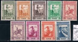 Timor, 1938, # 227/31, 233/5, 237, MH - Timor