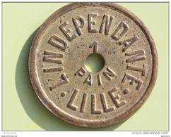"""Magnifique Jeton Cuivre Monnaie De Necessité """" L'Indépendante Lille - 1 Pain """" 59 Nord - Token - Monetary / Of Necessity"""