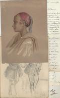 ISIDORE PILS (1813-1875) AQUARELLE ET DESSIN ORIGINAUX + 4 LAS AUTOGRAPHE ORIGINAL AUTOGRAPH /FREE SHIP. R - Watercolours