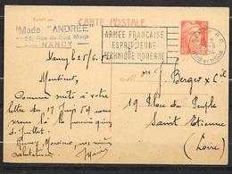 """Entier Carte Postale N°885 -CP1 """"Mode Andrée"""" Nancy 25/6/1954 Flamme Armée Française Esprit Jeune Technique Moderne B/TB - Cachets Militaires A Partir De 1900 (hors Guerres)"""