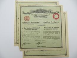 3 X  Certificat Provisoire - Banco Hipotecario, Credito Territorial Mexicano - MEXICO 1932 - Banque & Assurance