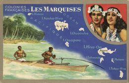French Polynesia, MARQUESAS Islands, Map Trade Card Lion Noir, Natives (1940s) - French Polynesia