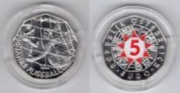 Oostenrijk 2004   5 Euro Zilver  100 Jaar Voetbal  Ag 800   10 Gram    28,5 Mm - Austria