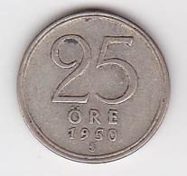 25 Öre Münze Aus Schweden (vorzüglich) 1950 Silber - Schweden
