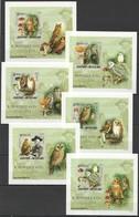 O889 !!! IMPERFORATE 2005 GUINE-BISSAU FAUNA BIRDS OWLS B. POWELL 6 LUX BL MNH - Owls