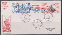 TAAF 1989 La Curieuse Strip 2v+label FDC Ca Martin-de-Vivies / St. Paul & Amsterdam (38454)see Scan - FDC