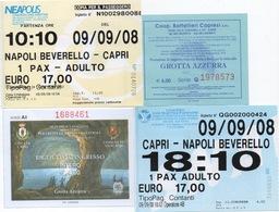 Lot De 4 Tickets De Bateaux Et D'Entrée : Napoli - Capri (Grotte Azur) - Napoli : 09/09/08 : EUR 44,00 - Tickets - Vouchers