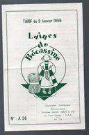 Tourcoing (59 Nord) TARIF Laines De BECASSINE  1956 (dépositaire à Dax) (PPP8461) - Publicidad