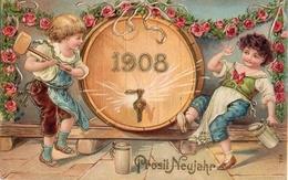 Année Date Millesime - 1908 - Prosit Neujahr Enfants Et Tonneau En Perce Gaufrée, Embossed - Nieuwjaar