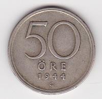 50 Öre Münze Aus Schweden (sehr Schön Bis Vorzüglich) 1944 Silbermünze - Schweden