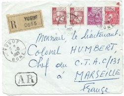 DEVANT D'ENVELOPPE RECOMMANDE YUSUF ALGERIE  1965 POUR MARSEILLE FRANCE - Algeria (1962-...)