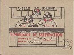VILLE De PARIS (75) - TEMOIGNAGE De SATISFACTION - A L'élève S MICHAU - 10 Février 1934 - Ecole - A Voir ! - Diploma & School Reports