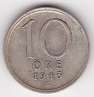 10 Öre Münze Aus Schweden (sehr Schön) 1943 Silber - Schweden