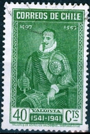 CILE, CHILE, COMMEMORATIVO, PEDRO DE VALDIVIA, 1941, FRANCOBOLLI USATI Yvert Tellier 181… Scott 212 - Chile