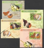 O989 !! IMPERFORATE 2008 S.TOME E PRINCIPE FLORA FAUNA BUTTERFLIES 4 LUX BL MNH - Schmetterlinge