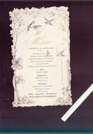 Menu - Lot De 2 - Déjeuner 30 Janvier 1901 - Superbe Litho Barillaud Roche Sur Yon -  Gaufrage, Hirondelles - Menus