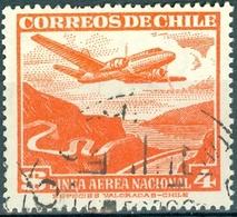 CILE, CHILE, POSTA AEREA, AIRMAIL, COMMEMORATIVO, PAESAGGI, LANDSCAPES, 1954, USATI Yvert Tellier PA134   Scott C141 - Chile