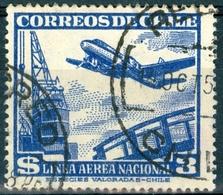CILE, CHILE, POSTA AEREA, AIRMAIL, 1950, FRANCOBOLLI USATI Yvert Tellier PA133   Scott C140 - Chile