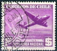 CILE, CHILE, POSTA AEREA, AIRMAIL, 1945, FRANCOBOLLI USATI Scott C108 - Chile