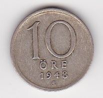 10 Öre Münze Aus Schweden (sehr Schön) 1948 Silber - Schweden