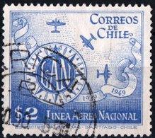 CILE, CHILE, POSTA AEREA, AIRMAIL, COMMEMORATIVO, AEREI, 1949, USATI YT PA122    Scott C125 - Chile