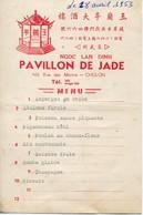 Rare MENU Du PAVILLON De JADE - NGOC LAN DINH - 466, Rue De Marins  CHOLON Saïgon, Au Viêt Nam. 1953 - Menus