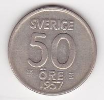 50 Öre Münze Aus Schweden (vorzüglich) 1957 Silber - Schweden