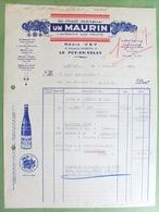 43 ,le Puy-en-velay....facture... L'apéritif Aux Fruits Régis Vey...marque Un Maurin.... ...dim..27 Cm Par 21 Cm... - Le Puy En Velay
