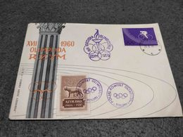 POLAND FDC COVER XVII 1960 OLIMPIADA OLYMPICS ROMA W/ CINDERELLA VIGNETTE - Ete 1960: Rome
