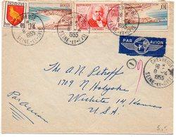 Blason Aunis + Royan + Chardonnet Sur Lettre Par Avion De 1955 Pour Les Etats-Unis - 1921-1960: Modern Period
