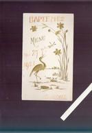 Menu - Bapteme - 27 Juillet 1921 - Cigogne Gaufrage - Menus
