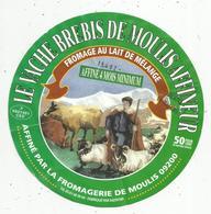étiquette Fromage , Dia. 15.5 Cms, LE VACHE BREBIS DE MOULIS , Ariége , 09 , Frais Fr : 1.45 E - Kaas