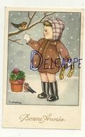 Bonne Année. Petite Fille Dans La Neige, Fer à Cheval, Rouges-gorges,trèfles. Signée Gougeon - Gougeon