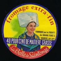 """Etiquette Fromage La Belle De Saintonge  Fromagerie Du Grand Parc Soubise """"femme Coiffe"""" - Cheese"""