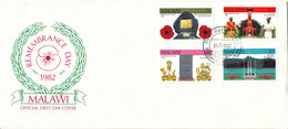 Malawi FDC 5-11-1982 Remembrance Day Complete Set Of 4 With Cachet - Malawi (1964-...)