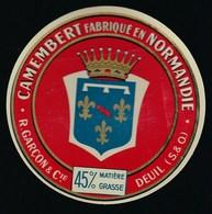 """Etiquette Fromage  Camembert Fabriqué En Normandie R Garçon & Cie Deuil Seine Et Oise """"blason"""" - Cheese"""
