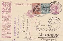 TRENTO E TRIESTE -1922 - CARTOLINA POSTALE PUBBLICITARIA SPEDITA DA S. VITO AL TAGLIAMENTO E DIRETTA IN BELGIO - - Trento & Trieste
