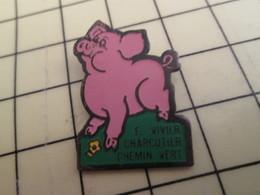 Pin1215c Pin's Pins / Beau Et Rare / COCHON PORC GORET CHARCUTERIE VIVIER CHEMIN VERT CAEN - Animals