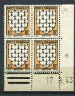 6613   FRANCE   N° 573** 10f  Armoiries De Bretagne  Du 17/8/43   TB. - 1940-1949