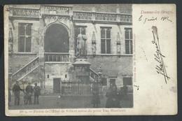 +++ CPA - DAMME LEZ BRUGGE - Perron De L'Hôtel De Ville Et Statue Du Poète Van Maerlant - Cachet Café Batavia  // - Brugge