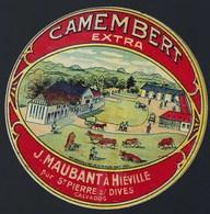 """Etiquette Fromage CamembertExtra  J Maubantà Hieville Par St Pierre S/Dives Calvados """"vaches"""" - Cheese"""