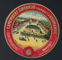 Etiquette Fromage Camembert Supérieur Fabriqué En Normandie Léon Lebourgeois  Boissey Par St Pierre S Dives - Cheese