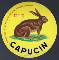 """Etiquette Fromage Camembert Fabriqué En Normandie Capucin """"lapin Ou Lièvre"""" G Piquois Dives S Mer Calvados - Cheese"""